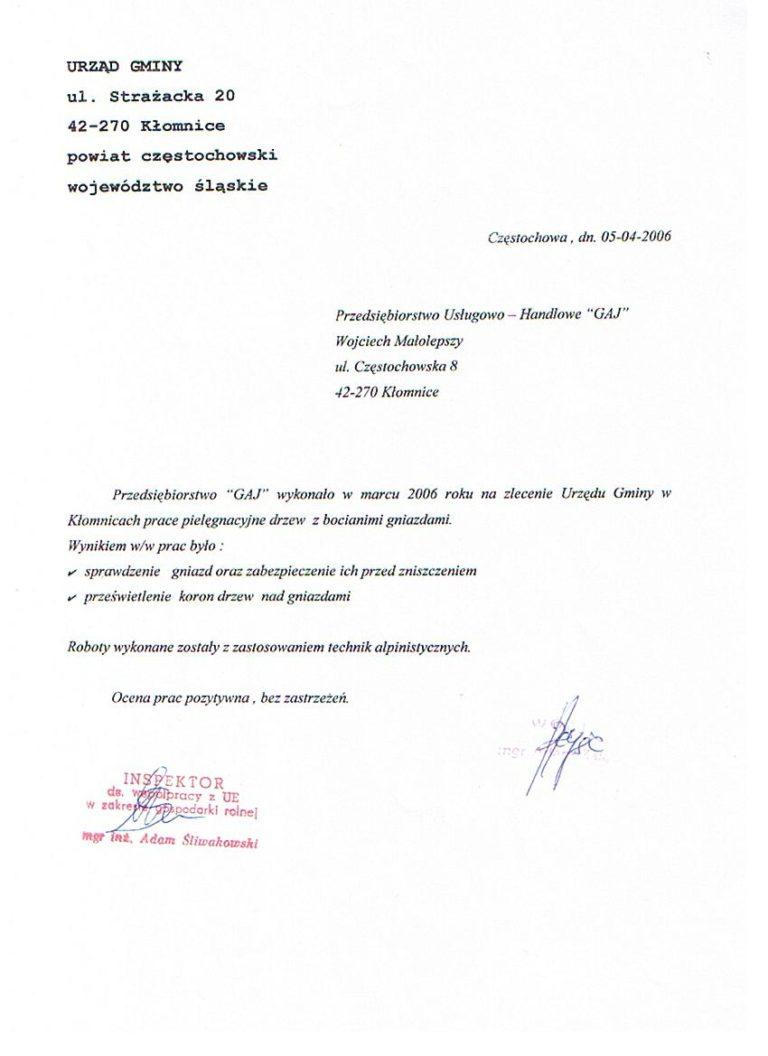 Pielęgnacja drzew - Urząd Gminy Kłomnice