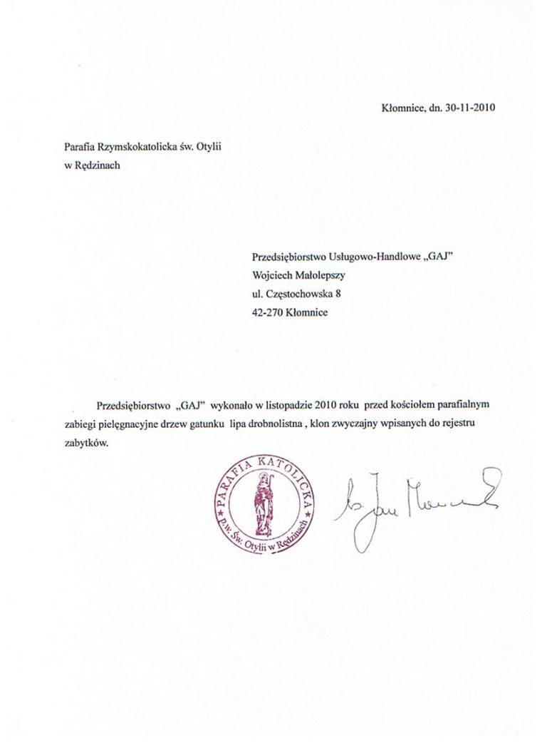 Pielęgnacja drzew - Parafia Rzymskokatolicka św. Otylii w Rędzinach