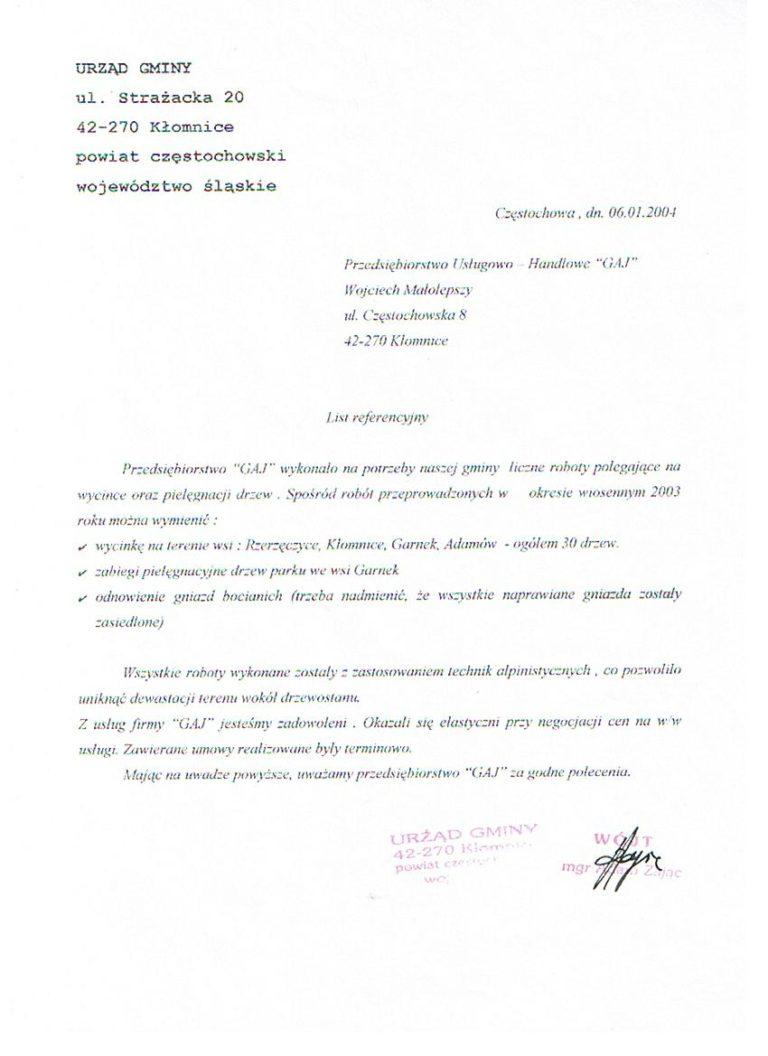 Wycinka, pielęgnacja i przycinanie drzew - Urząd Gminy Kłomnice